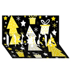 Yellow playful Xmas BEST SIS 3D Greeting Card (8x4)