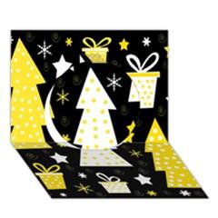 Yellow playful Xmas Circle 3D Greeting Card (7x5)