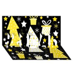 Yellow playful Xmas #1 DAD 3D Greeting Card (8x4)