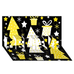 Yellow playful Xmas BELIEVE 3D Greeting Card (8x4)