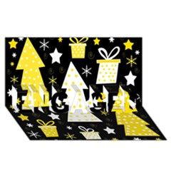 Yellow playful Xmas ENGAGED 3D Greeting Card (8x4)