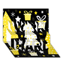 Yellow playful Xmas WORK HARD 3D Greeting Card (7x5)