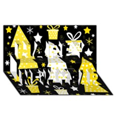 Yellow playful Xmas Happy New Year 3D Greeting Card (8x4)