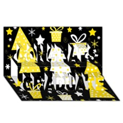 Yellow playful Xmas Congrats Graduate 3D Greeting Card (8x4)