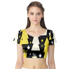 Yellow playful Xmas Short Sleeve Crop Top (Tight Fit)