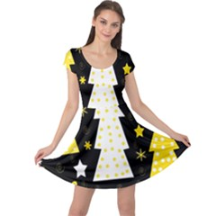 Yellow playful Xmas Cap Sleeve Dresses