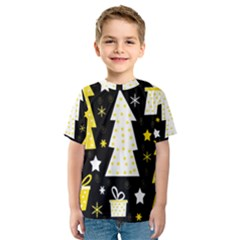Yellow playful Xmas Kids  Sport Mesh Tee