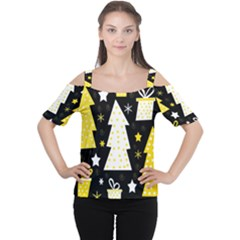 Yellow playful Xmas Women s Cutout Shoulder Tee