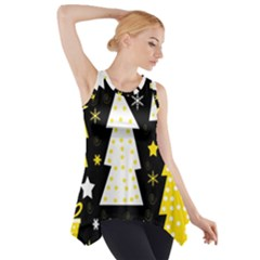 Yellow playful Xmas Side Drop Tank Tunic