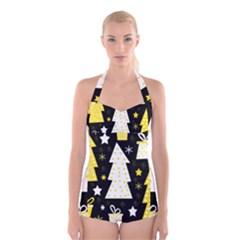 Yellow playful Xmas Boyleg Halter Swimsuit