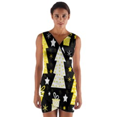 Yellow playful Xmas Wrap Front Bodycon Dress