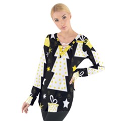 Yellow playful Xmas Women s Tie Up Tee
