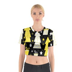 Yellow playful Xmas Cotton Crop Top