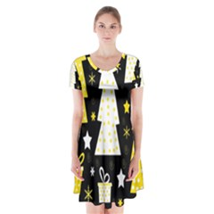 Yellow Playful Xmas Short Sleeve V Neck Flare Dress