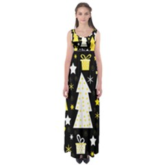 Yellow playful Xmas Empire Waist Maxi Dress