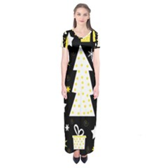 Yellow playful Xmas Short Sleeve Maxi Dress
