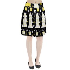 Yellow playful Xmas Pleated Skirt