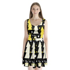 Yellow playful Xmas Split Back Mini Dress
