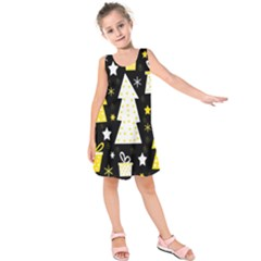Yellow playful Xmas Kids  Sleeveless Dress