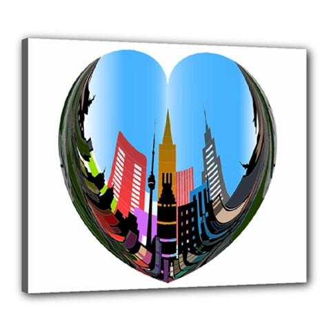 Heart Shape City Love  Canvas 24  x 20