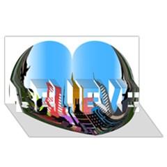 Heart Shape City Love  BELIEVE 3D Greeting Card (8x4)