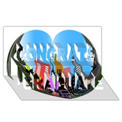 Heart Shape City Love  Congrats Graduate 3D Greeting Card (8x4)