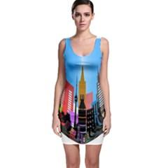 Heart Shape City Love  Sleeveless Bodycon Dress