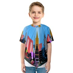 Heart Shape City Love  Kids  Sport Mesh Tee