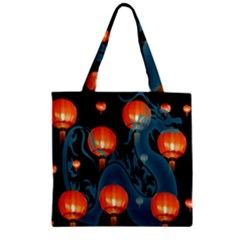 Lampion Zipper Grocery Tote Bag