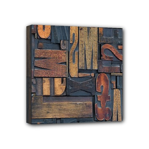 Letters Wooden Old Artwork Vintage Mini Canvas 4  x 4