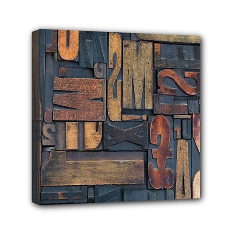 Letters Wooden Old Artwork Vintage Mini Canvas 6  x 6
