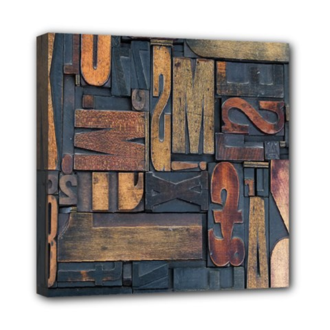 Letters Wooden Old Artwork Vintage Mini Canvas 8  x 8