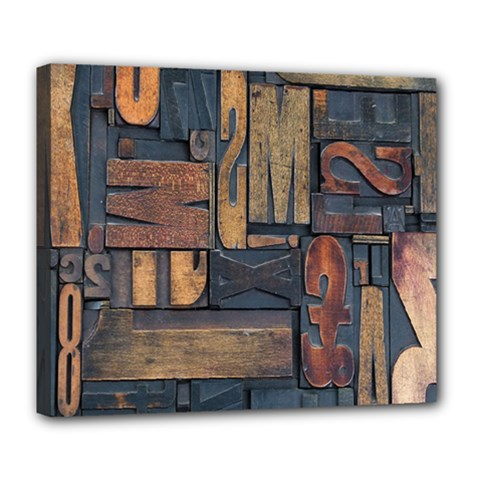 Letters Wooden Old Artwork Vintage Deluxe Canvas 24  x 20