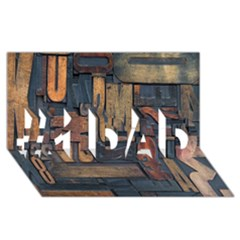Letters Wooden Old Artwork Vintage #1 DAD 3D Greeting Card (8x4)