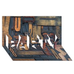 Letters Wooden Old Artwork Vintage PARTY 3D Greeting Card (8x4)