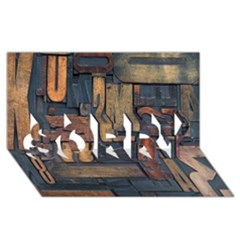 Letters Wooden Old Artwork Vintage SORRY 3D Greeting Card (8x4)