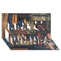 Letters Wooden Old Artwork Vintage Best Wish 3D Greeting Card (8x4)