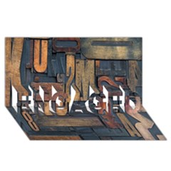 Letters Wooden Old Artwork Vintage ENGAGED 3D Greeting Card (8x4)