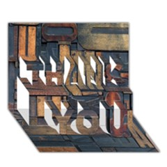 Letters Wooden Old Artwork Vintage THANK YOU 3D Greeting Card (7x5)