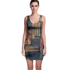 Letters Wooden Old Artwork Vintage Sleeveless Bodycon Dress