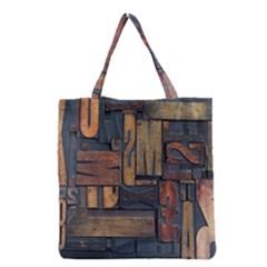Letters Wooden Old Artwork Vintage Grocery Tote Bag