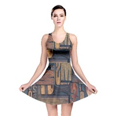 Letters Wooden Old Artwork Vintage Reversible Skater Dress