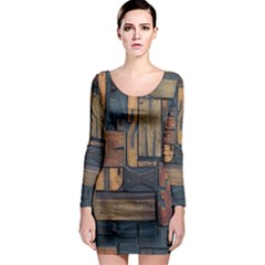 Letters Wooden Old Artwork Vintage Long Sleeve Bodycon Dress