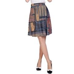Letters Wooden Old Artwork Vintage A-Line Skirt
