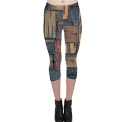 Letters Wooden Old Artwork Vintage Capri Leggings