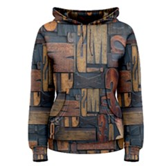 Letters Wooden Old Artwork Vintage Women s Pullover Hoodie