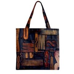Letters Wooden Old Artwork Vintage Zipper Grocery Tote Bag