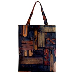 Letters Wooden Old Artwork Vintage Zipper Classic Tote Bag