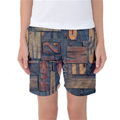 Letters Wooden Old Artwork Vintage Women s Basketball Shorts