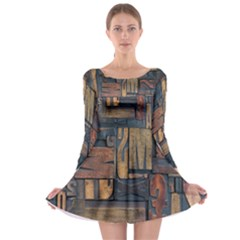 Letters Wooden Old Artwork Vintage Long Sleeve Skater Dress